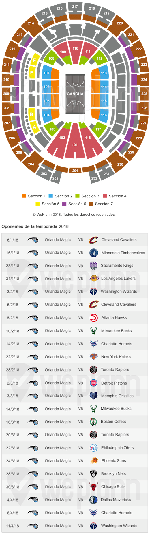 Amway Center y calendario del Orlando Magic